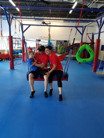 gym owners with son we rock the spectrum kids gym grand opening waretown new jersey